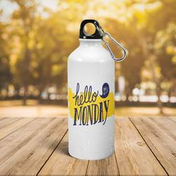 White Printed Aluminium Sipper Water Bottle 600ml