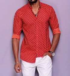 Sanganeri Printed Men Shirt, Hand Block Printed Shirt, Men's Printed Shirt