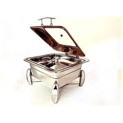 Grand Square 2/3 Rose Gold Chafer With Dolphin Leg