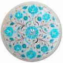 White Marble Coffee Table Top  Inlay Design