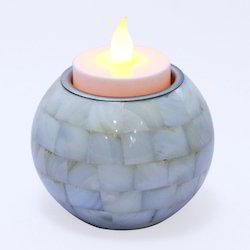 Mother Off Pearl Round Candle & Tea Light Holder