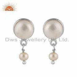 Designer 925 Fine Silver Pearl Gemstone Drop Earrings