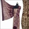 Ladies Hand Batik Print Chocolate Salwar Suit Fabric