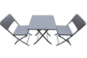 Folding Garden Dining Table-Chairs Set (1 2)-Brown-Rattan