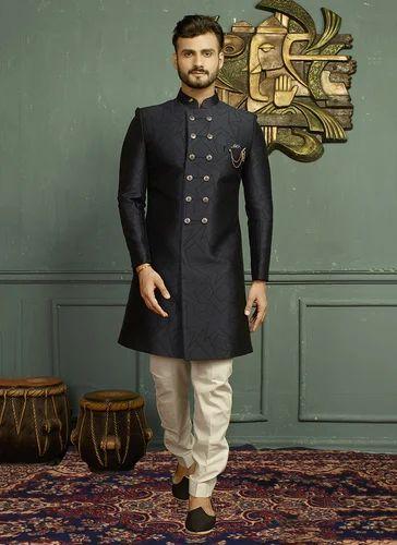3f07f346cd Indowestern Black Wedding Wear Jacquard Designer Sherwani, Rs 6745 ...