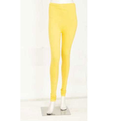 Ladies Yellow Cotton Lycra Churidar Legging, Size: Medium And Large
