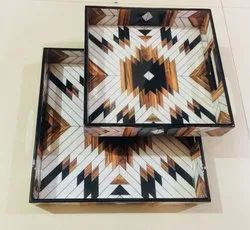 Square Printed Wooden Trays