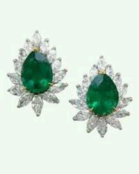 Green Sapphire Diamond Earrings