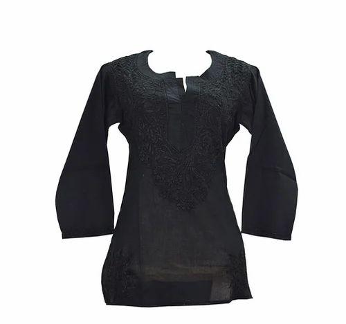 f550bf6514 Wedding Wear Black Kashmiri Needlecraft 100% Soft Cotton Short Kurti ...
