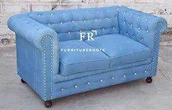 Button Tufted Cushions, Arms, Back and Seat Rail. The Rolled Arms Meet the Back at the Same Height