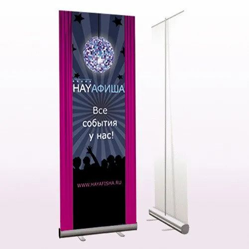 Printed Roll Up Banner Standee, Size: 5 X 2 Feet