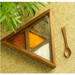 Seth Wooden Triangle 4 Inches Jewellery Box, For Home