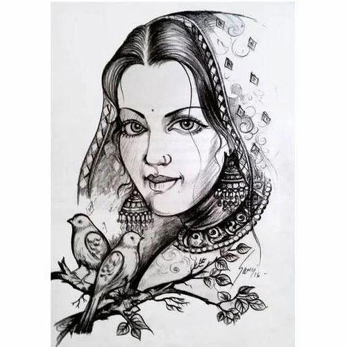 Lady Pencil Art Portrait, Size: A4, Rs 2000 /piece, Picto ...