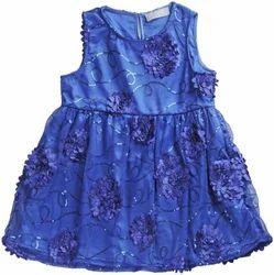 Blue Polyester Karyn Girls Midi Knee Casual Dress