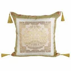 Gold Silk Jacquard Brocade Tassel Floral Square Cushion Cover