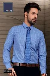 Blue Chex Formal Uniform Shirts for Corporate Office