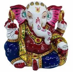 Metal Gaddi Ganesha Enamel Work Decorative Ganesh Idol