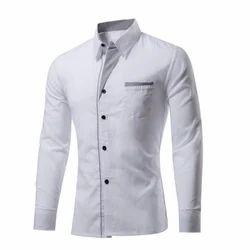White Collar Neck Mens Designer Shirts, Size: Medium