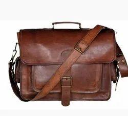 Indian Brown Designer Leather Shoulder Bag, For Office, Size: 13 X 18 Inch