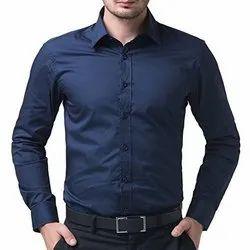 XL Blue Mens Full Sleeve Plain Shirt