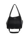 Black Synthetic Leather Tote Bag
