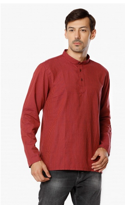 03e6d4c3d MELANGE Mandarin Collar Striped Short Mens Kurta at Rs 319 /piece ...