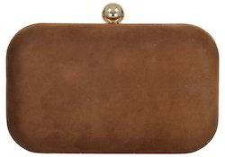 Azzra Brown Genuine Suede Leather Party Box Clutch for Women