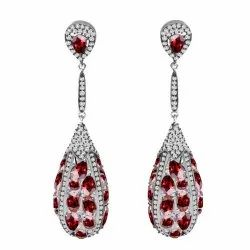 Garnet & Diamond Earring