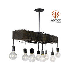 Woavin Industrial, Commercial, Farmhouse Wooden Block Metal Hanging Lamp Wooden Top, Wattage: 40 W