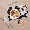 Decor Emporia Rectangle(mat), Square(coaster) White And Black Designer Table Mat With Coaster Set