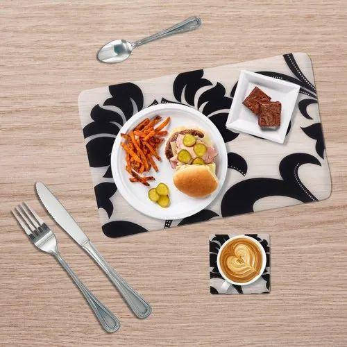 Decor Emporia Rectangle(Mat),Square(Coaster) White And Black Designer Table Mat With Coaster Set
