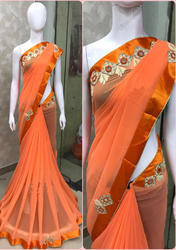 Georgette Orange Saree