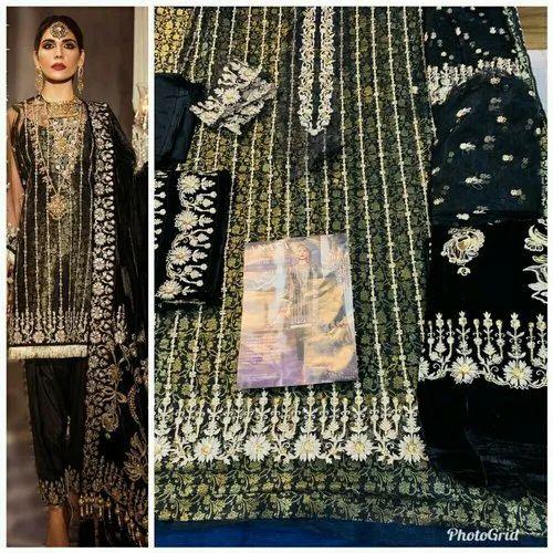 Chiffon Black Original Pakistani Abaya Unstitched Suit