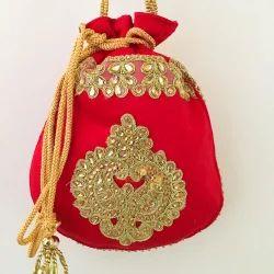 2f16ee835f Designer Silk (Red) Potli Pouch