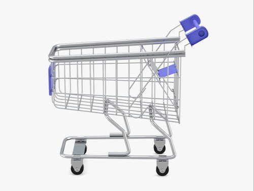 Silver SS Supermarket Stainless Steel Trolley