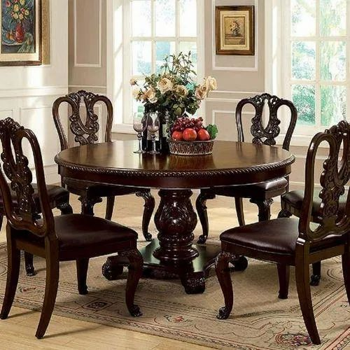 Brown Wooden Round Dining Table Size Dimension 4 Feet Table Diameter 6 Chairs 1 Table Rs 65000 Set Id 21376709997