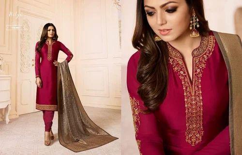 7fc990a3b0 Satin Grorgette Ladies Party Wear Salwar Suit With Banarasi Dupatta ...