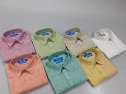Men Chembery And White Pure Linen Shirts