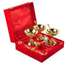 Silver & Gold Plated Ice Cream Bowl Set 8 Pcs.(Bowl 3.5x3.5 Diameter)