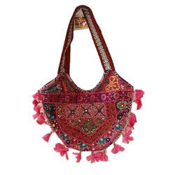 Pink,Red Cotton Fancy Embroidered Handbag
