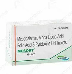 MESORT (Mecobalamin,Alpha Lipoic Acid, Folic Acid & Pyridoxine HCl Tablets)