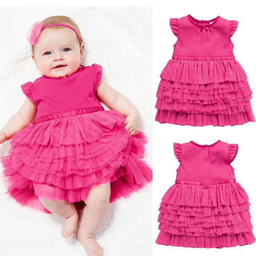 5ca0b92e0cd Pink Party Wear New Born Baby Frock