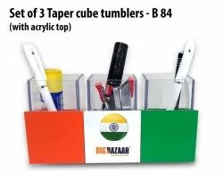 B84 Set Of 3 Taper Cube Tumblers With Acrylic Top