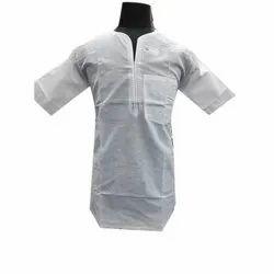 Embroidered Cotton Mens Malmal Short Kurta