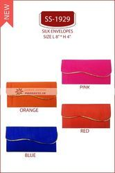 SS-1929 Pink Orange Blue Red Silk Plain Shagun Envelopes