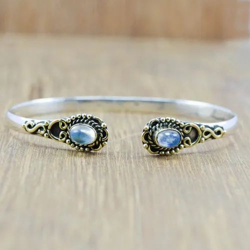 7989ec5a68 925 STERLING SILVER AND BRASS NEW FASHION JEWELRY RAINBOW MOONSTONE BANGLE  WB-5899