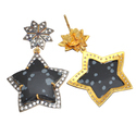 Snow Flake Obsidian CZ Pave Set Gemstone Earring