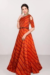 Multicolor Banglory Silk Ladies Long Gown