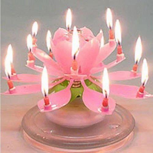 Pink Lotus Rotate Birthday Candle