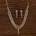 White Two Tone Plated Cz Classic Necklace Set 401310